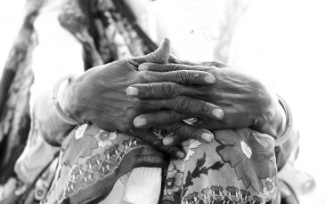 Weathered hand of African woman in South Suan